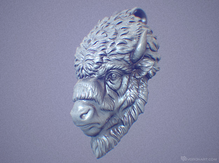 Bison Head pendant 3d printed Digital preview, not a photo. How will look your pendant depends on kind of metal you chose