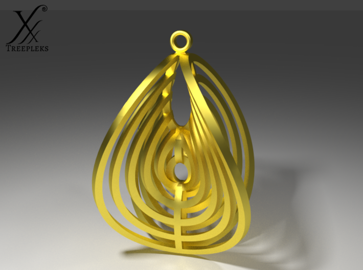 Aerial earring 3d printed Brass, cycle render.