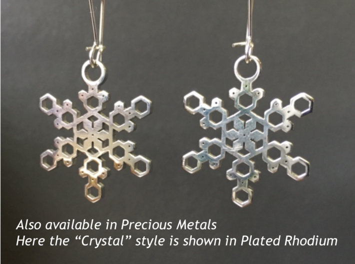 "Powder Snowflake Earrings 3d printed Sample of snowflake earrings in Plated Rhodium (""Crystal"" model)"