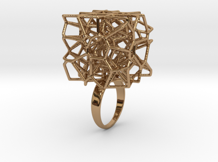 Voronoi Cube Ring (size 5) 3d printed