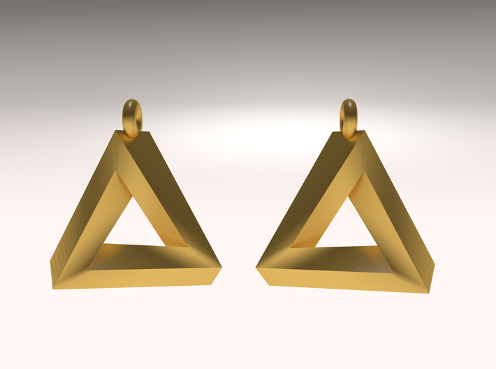 Penrose Triangle - Earrings (17mm | 1x mirrored) 3d printed rendered image
