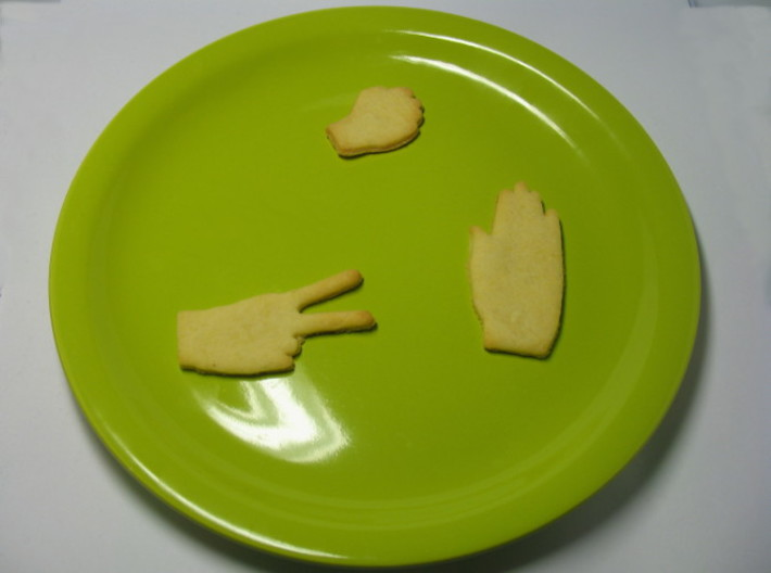 Rock-paper-scissors cookie cutters - all 3d printed