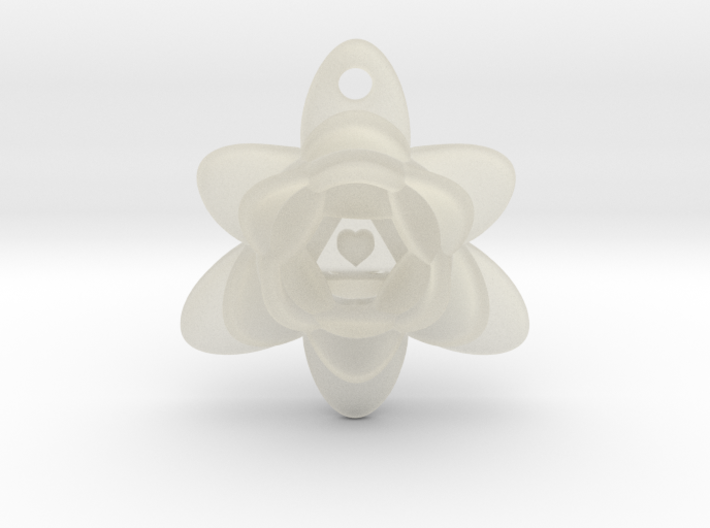 Heart Triangle Flower Pendant 3d printed