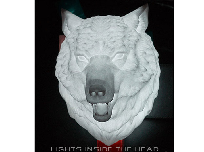Angry Wolf Wall Mount 3d printed Wolf head in plastic, lights inside the head
