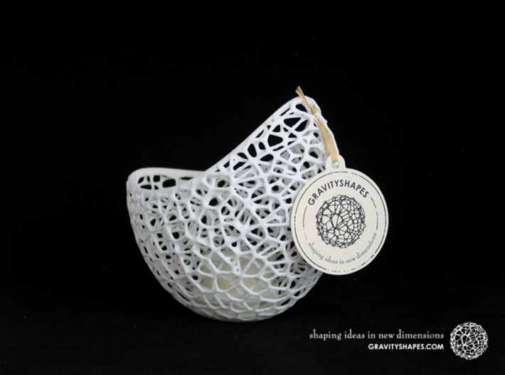 Filigree double wall tealight holder 3d printed Shapeways print with White Strong and Flexible Polished