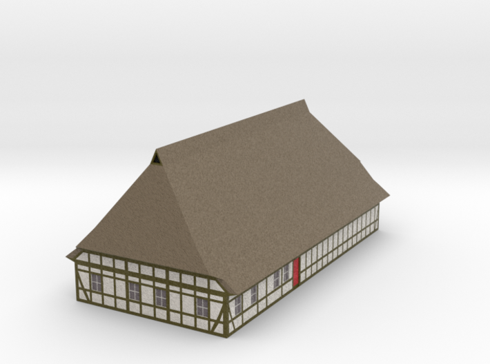 1/300 North German Timberframe Farm House - white 3d printed