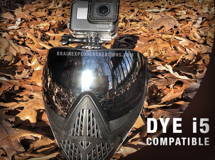 Paintball Mask Mount for GoPro Cameras 3d printed Shown on a DYE i5 Mask