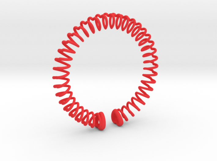 Heart Spring Bracelet In 3d printed