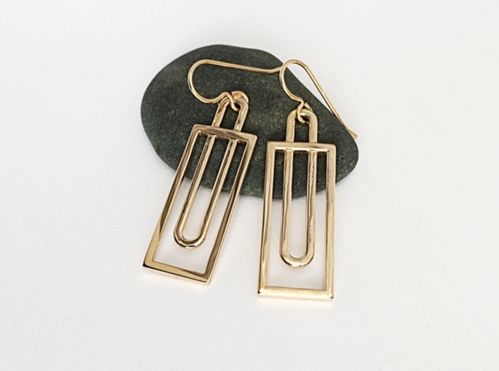 Simple Rectangles - Architectural Earrings 3d printed Geometric Earrings in Polished Bronze