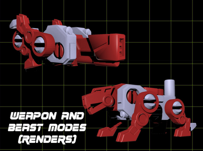 Jaguar Laser Transforming Weaponoid Kit (5mm) 3d printed Render showing both modes