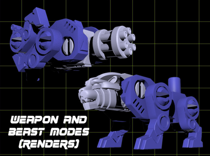 Catling Gun (Lion/Tiger) Transforming Weaponoid  3d printed Render of figure in both modes