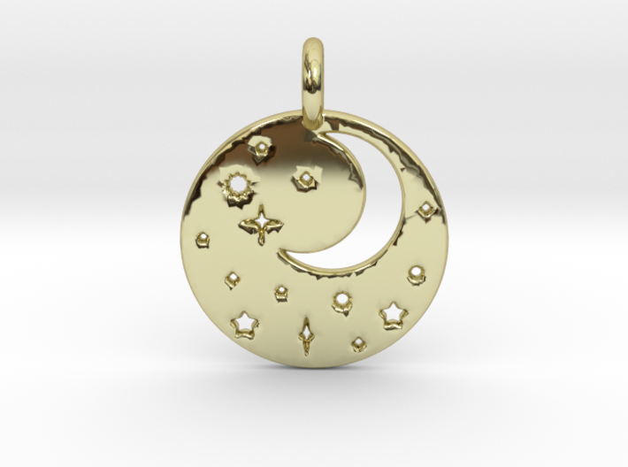 Starry Night Pendant 3d printed Starry Night Pendant in Gold