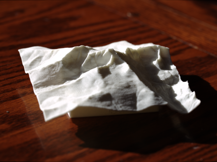 4'' Longs Peak Terrain Model, Colorado, USA 3d printed Photo of model from North with low morning sun