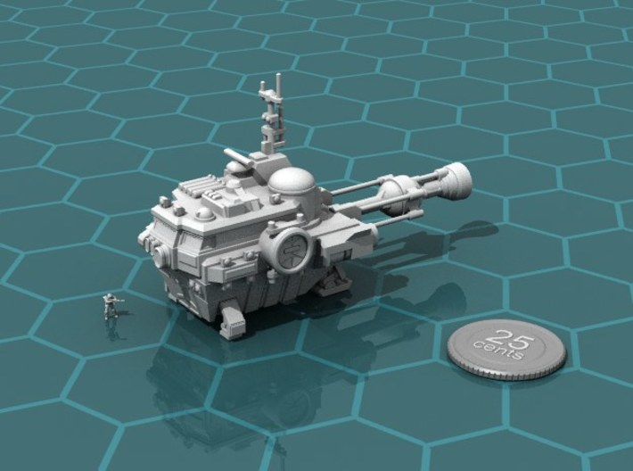 Utility Ship 3d printed Render of the model, with a virtual quarter for scale.