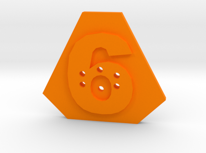 6-hole, Number 6, 6 Sided Shape Button 3d printed