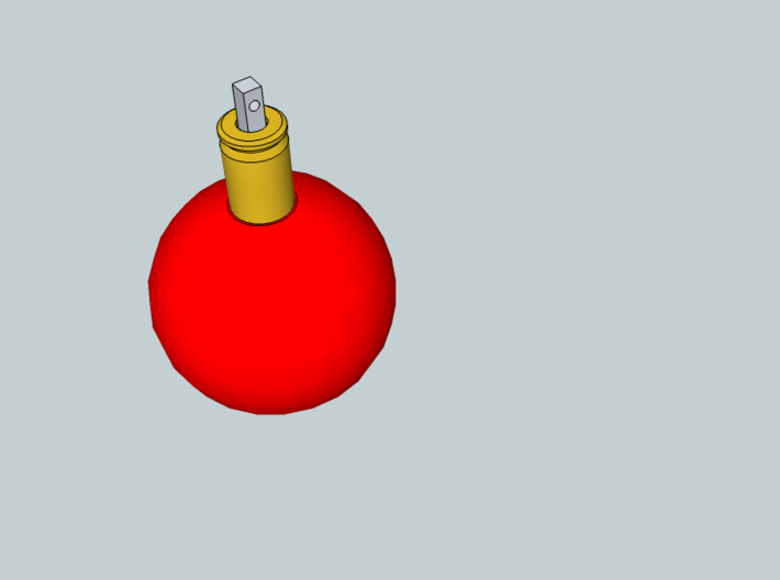 Ball ornament with cartridge case 3d printed Preview in Sketchup