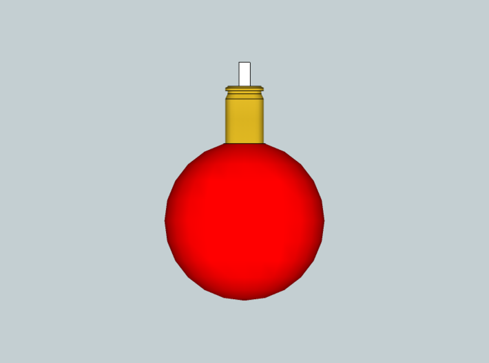 Ball ornament with cartridge case 3d printed