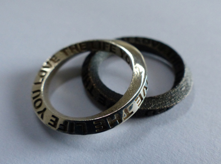 Live The Life You Love - Mobius Ring 3d printed Polished Silver and Matte Black Steel