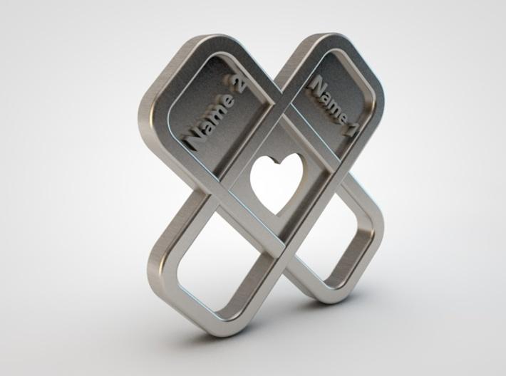 Heart Name Pendant 3d printed heart pendant side