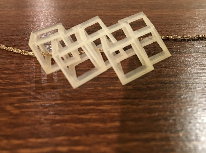 Interconnected Parrallelepipeds Necklace 3d printed Chain not included