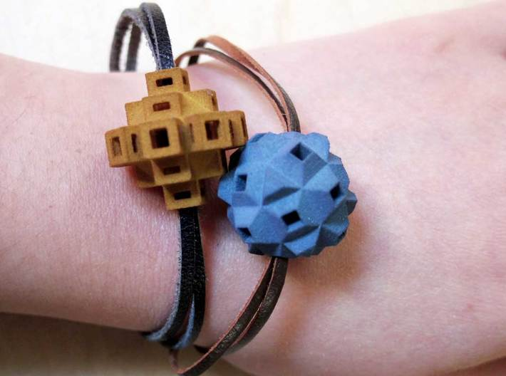 Abstract Geometric Rock Beads / Pendants 3d printed Bracelets made with hand-dyed white strong & flexible geometric beads and leather cord