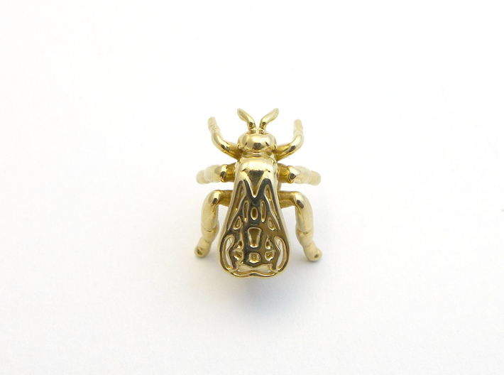 Honeybee Lapel Pin - Nature Jewelry 3d printed Honeybee lapel pin in polished brass
