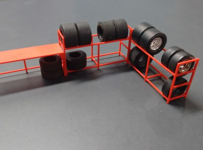 Tire Storage Rack 1/24 - 1/25 Scale Diorama 3d printed Example of a combination of 2 tire racks and 1 desk