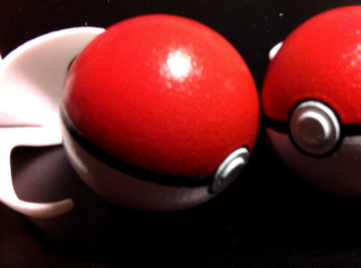 Clip for little Pokeball 3d printed Belt clip with painted little pokéball