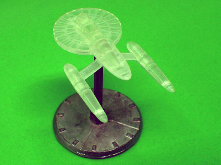 1/3125 Aspen Class Federation Frigate 3d printed Aft 3/4 View, Printed Frosted Ultra Detail