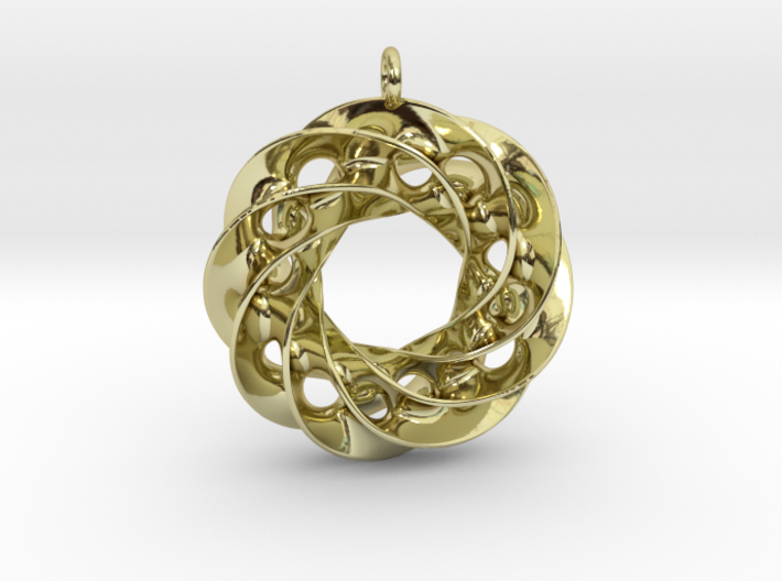 Twisted Scherk Linked 4,3 Torus Knots Pendant 3d printed