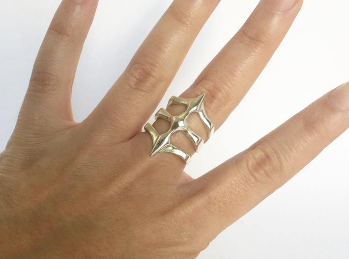 Ring Two Spikes - Elegant modern adjustable 3d printed Polished Silver