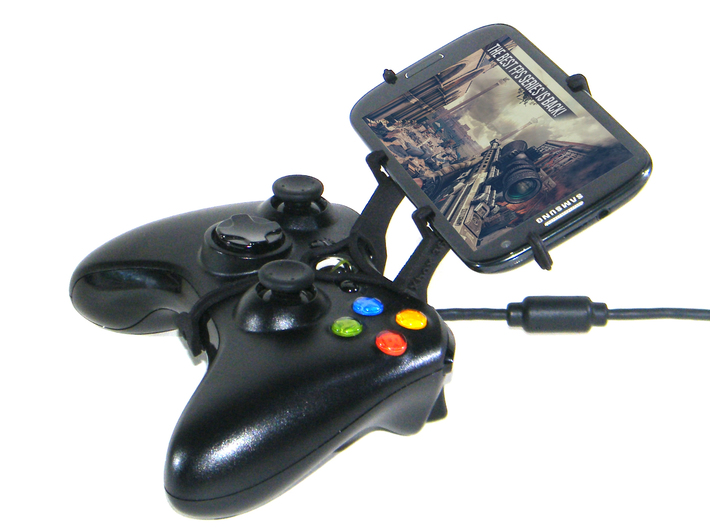 Xbox 360 controller & BQ Aquaris E5s 3d printed Side View - A Samsung Galaxy S3 and a black Xbox 360 controller