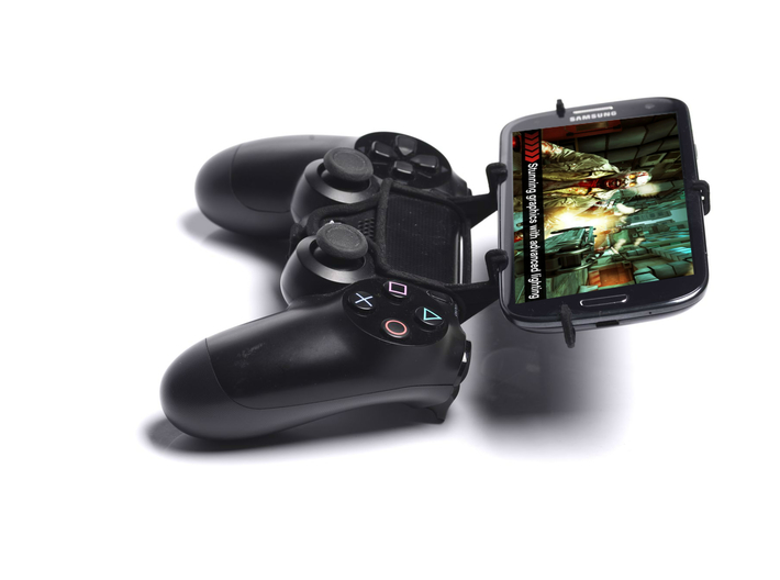 PS4 controller & Gionee Marathon M5 enjoy 3d printed Side View - A Samsung Galaxy S3 and a black PS4 controller