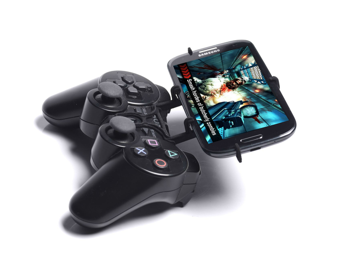 PS3 controller & Intex Aqua Power + 3d printed Side View - A Samsung Galaxy S3 and a black PS3 controller