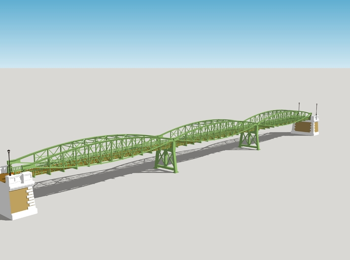 Hoogespoorbrug - Landhoofd en pijler 3d printed The complete bridge with all 3 sections. This item is one of the bridge heads and one intermediate support. For a complete bridge you need to order two of these.