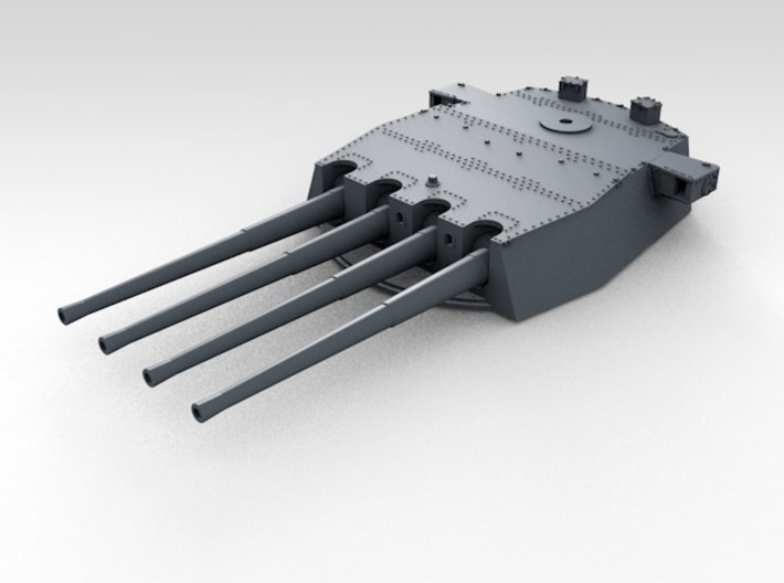 "1/570 HMS Prince of Wales 14"" Turrets 1941 3d printed 3d render showing product detail (X Turret)"