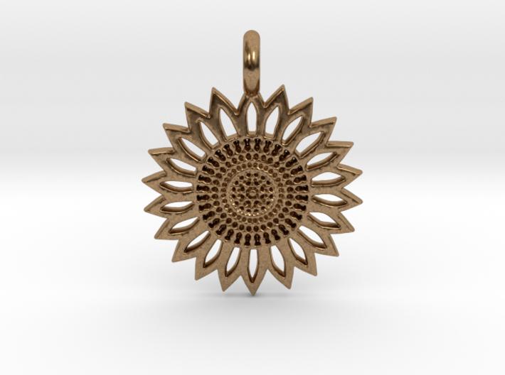 A Sunflower Earring 3d printed A Sunflower Earring in brass is shining.