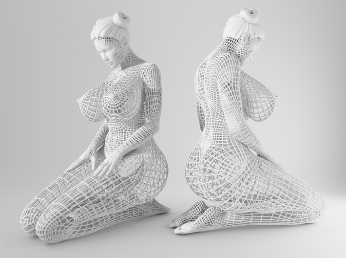 Sexy Wireframe Kneeling 20cm 3d printed