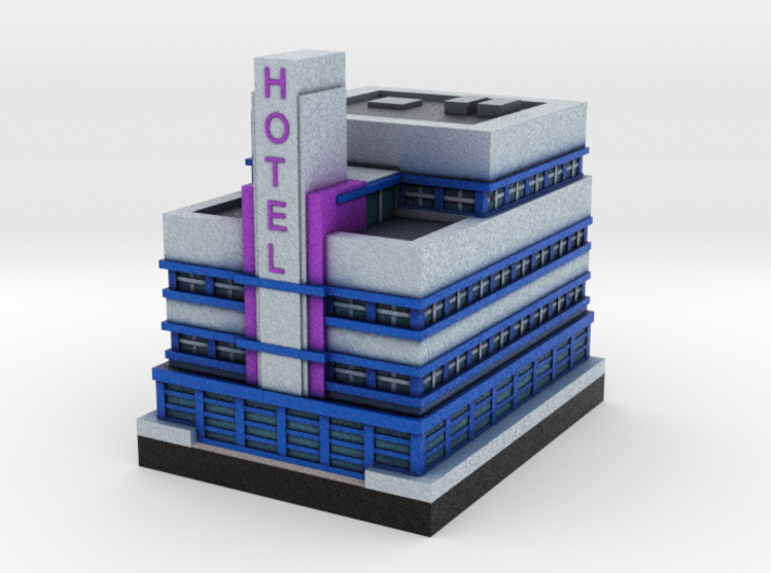 Miami Art Deco Hotel 2 x 2 3d printed