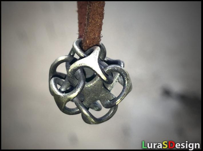 Mini Metatron 3d printed Raw Silver - aged
