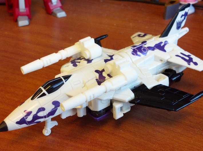 CW Blast Off Leg Guns 3d printed Attaches to tabs on top of vehicle mode using 5mm pegholes