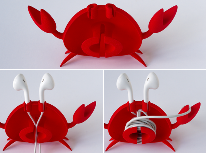 Apple EarPod Crab Holder 3d printed EarPods fit in slots and then use opening to feed wire through center and wrap