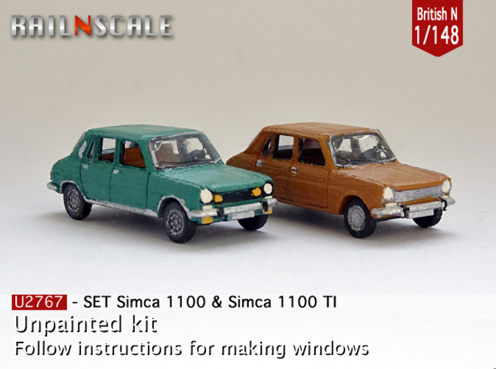 SET Simca 1100 & 1100 TI (British N 1:148) 3d printed