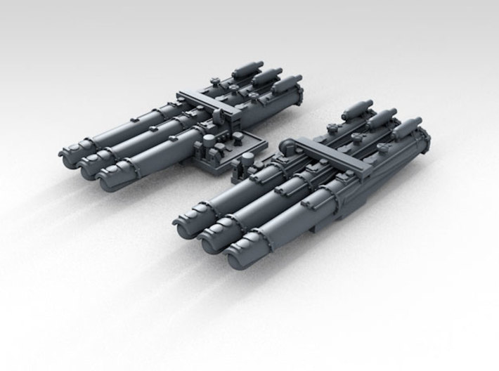 "1/700 WW2 RN 21"" Triple Torpedo Mounts (2) 3d printed 3d render showing product detail"