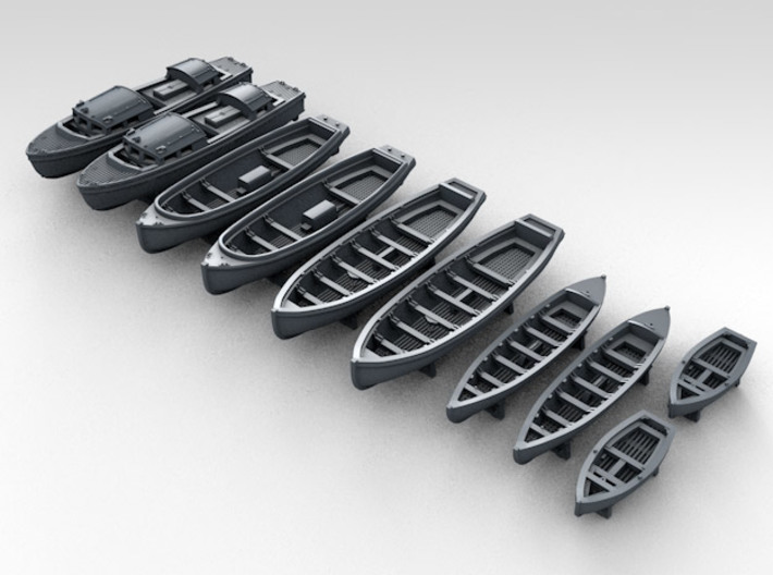 1/400 WW2 RN Boat Set 1 with Mounts 3d printed 3d render showing product detail