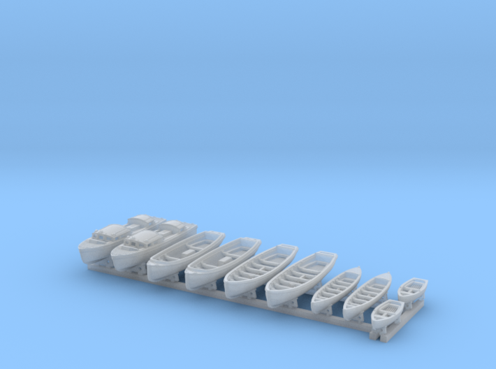 1/400 WW2 RN Boat Set 1 with Mounts 3d printed 1/400 Royal Navy WW2  Boat Set 1 with Mounts