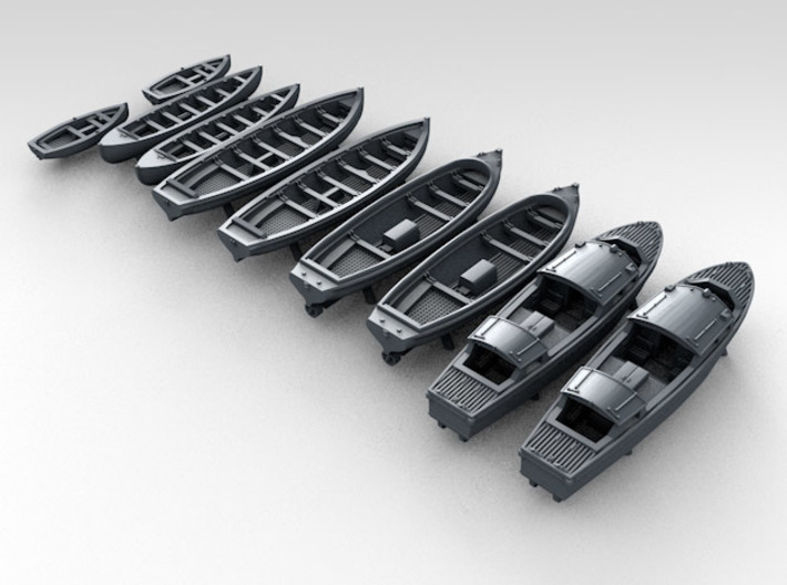 1/350 WW2 RN Boat Set 1 without Mounts 3d printed 3d render showing product detail