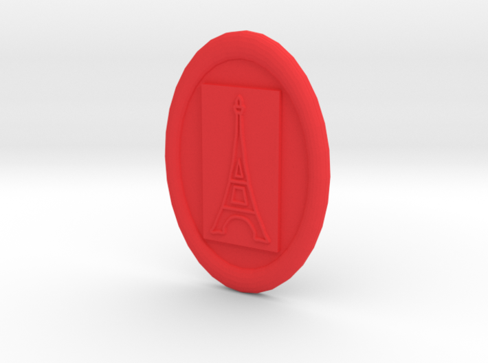 Oval Eiffel Tower Button 3d printed