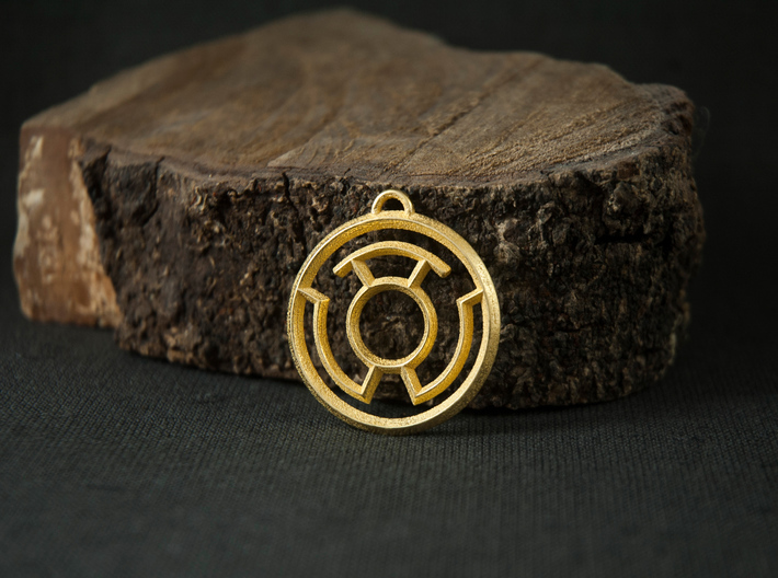 Yellow Lantern Keychain 3d printed Polished Gold Steel