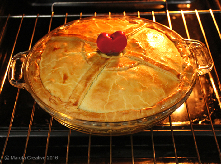 Pie Funnel in a heart shape 3d printed Gloss Red Porcelain - Pie baked in the oven
